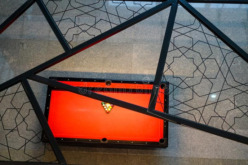 Red billiard table over view royalty free stock images