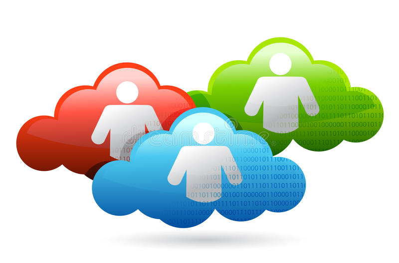 Red binaria social brillante de la nube medios ilustración del vector