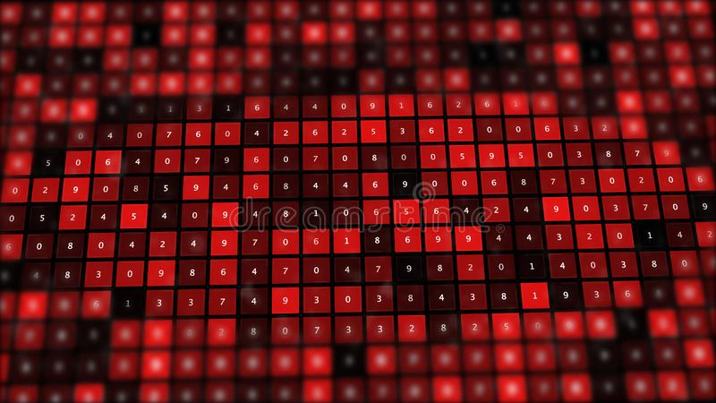 Red binary screen with grid of numbers. Computer error concepts abstract backround vector illustration