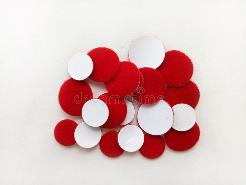 Red Bindiya Round Shape Sticker of Traditional Married Women In Asia royalty free stock image