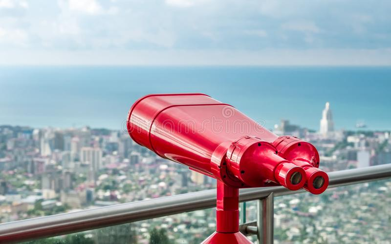 Red binocular tower viewer stock image. Image of building ...