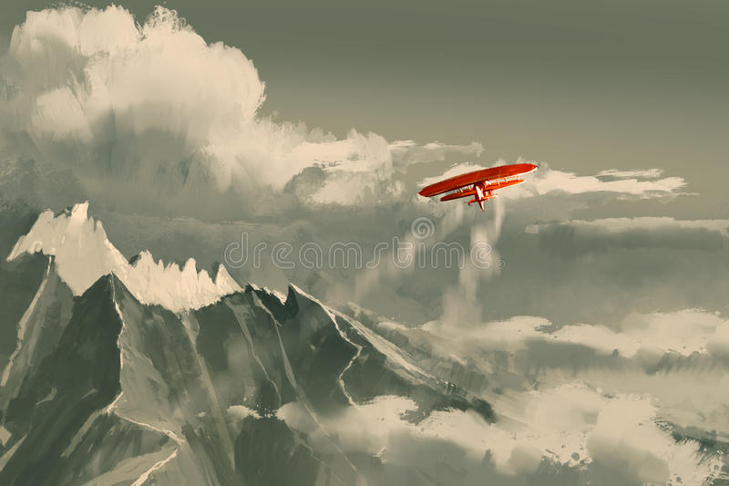 Red biplane flying over mountain stock illustration