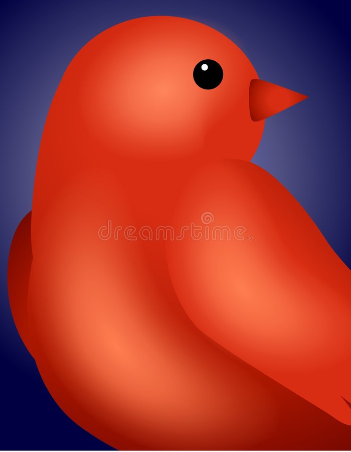Red Bird Background. A background illustration featuring a close up of a red bird set against gradient blue vector illustration