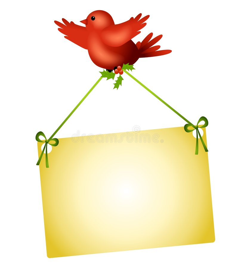 Red Bird Carrying Sign. An illustration featuring a red bird, like a cardinal, carrying a blank sign with bows and holly royalty free illustration
