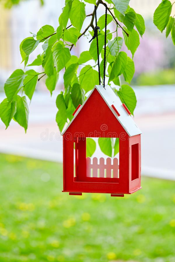 Red bird house hanging from the tree and surrounded by lush foliage royalty free stock photos