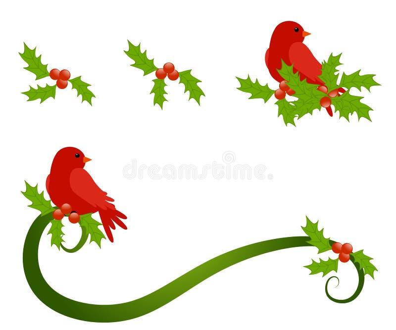 Red Bird Sitting Holly Sprig vector illustration