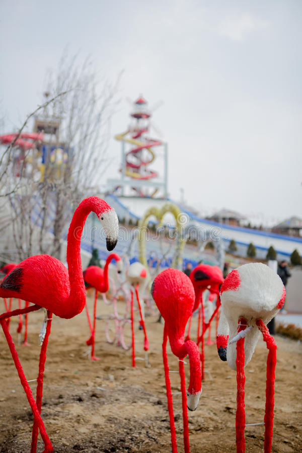 Red bird statue. In the park in Korea stock images