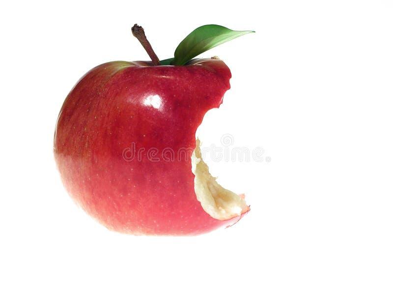 Red bitten apple stock image