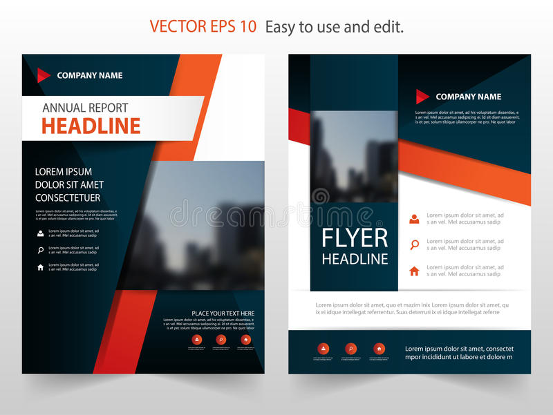 Red Black Abstract Annual Report Brochure Design Template Vector ...
