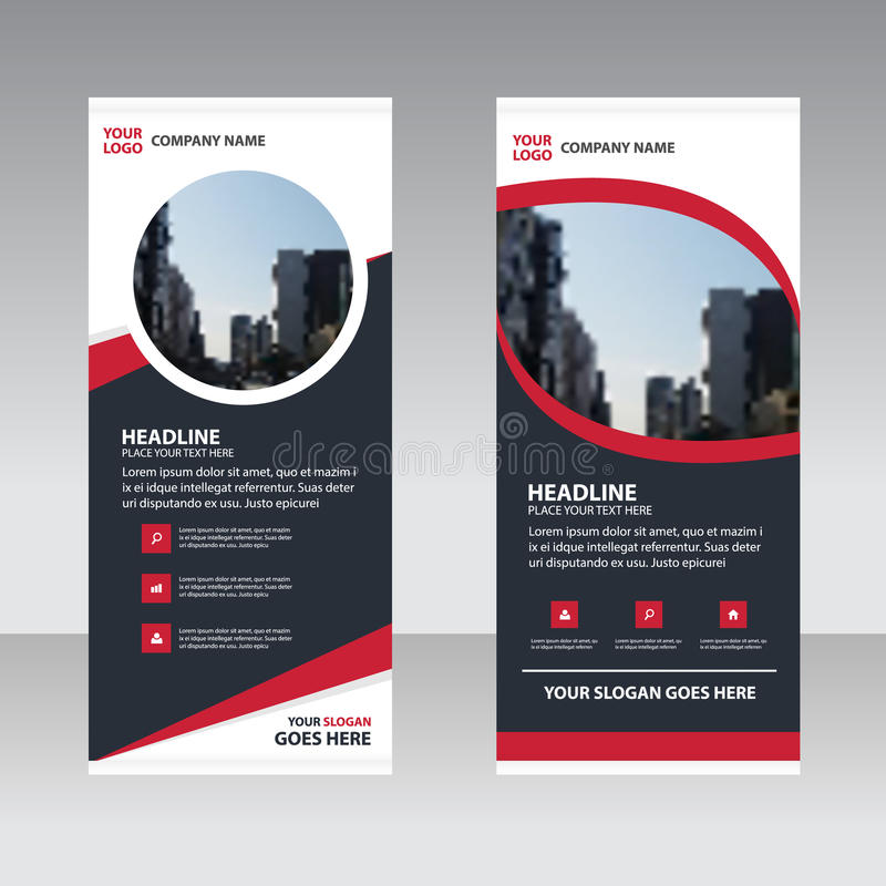 Red black abstract Business Roll Up Banner flat design template vector illustration