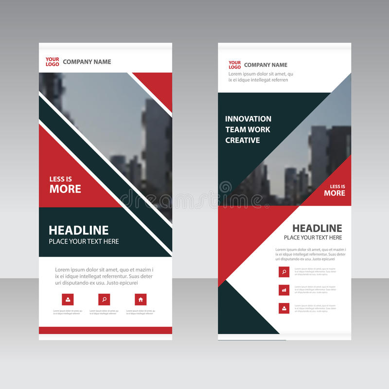 Red black abstract triangle Business Roll Up Banner flat design template ,Abstract Geometric banner template Vector illustration stock illustration