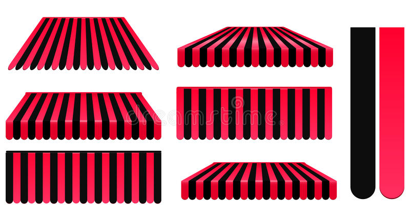 Red and black awnings stock vector Illustration of cover