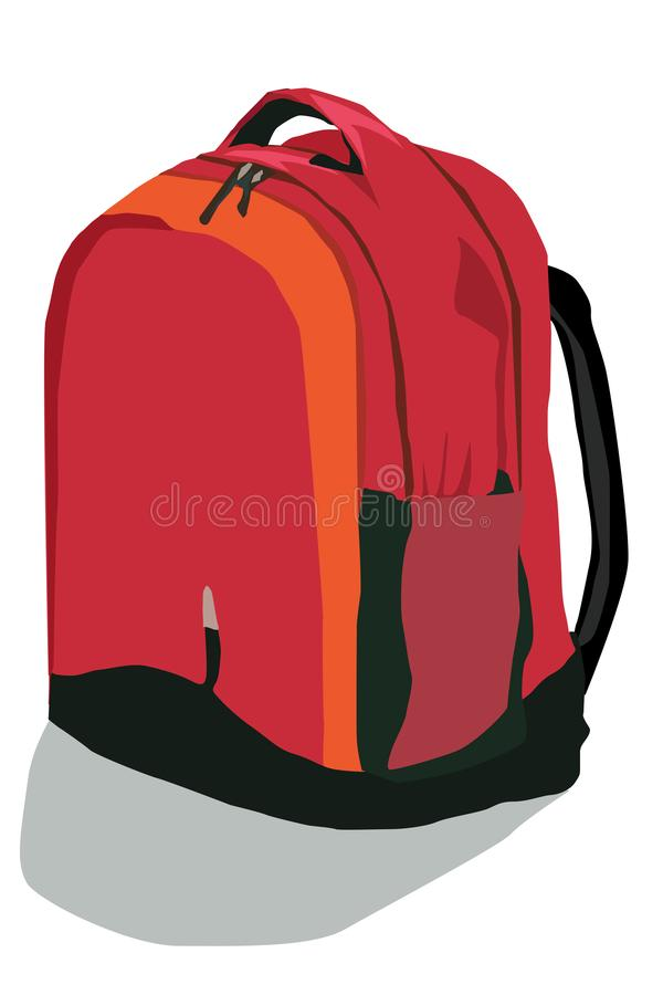 Red-black backpack on a white background. The drawn backpack in red-black-orange tones, is isolated on a white background vector illustration