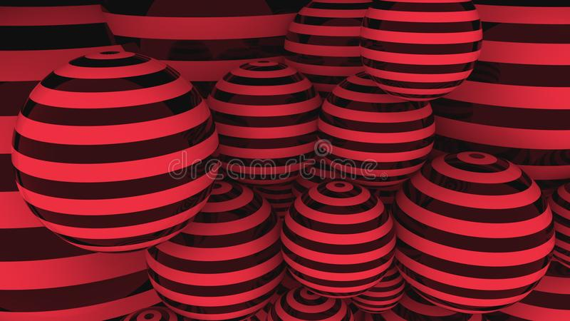 Red and black balls. 3D rendering. Red and black balls 3D rendering stock image