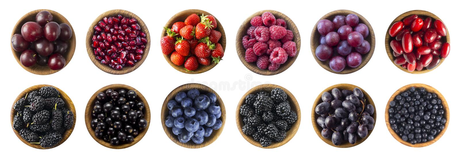 Red and black-blue food.  Raspberry, strawberry, currant, blueberry, plum, grape, pomegranate, mulberry, bilberry and blackberry. stock photography