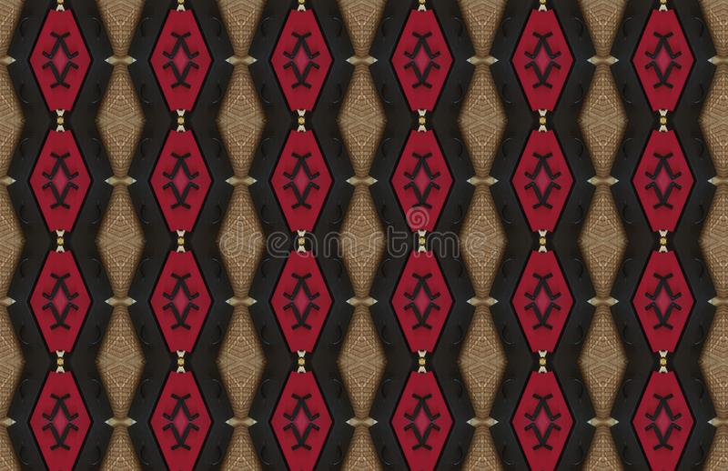 Red Black Brown Abstract Large Pattern Design royalty free illustration