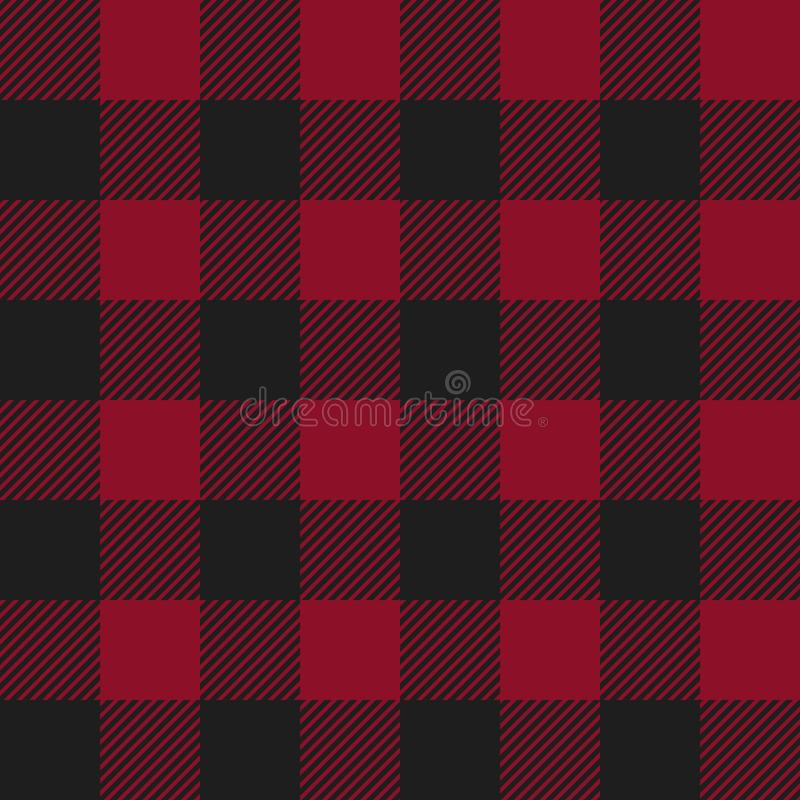 Red and Black Buffalo Check Plaid Seamless Pattern stock illustration