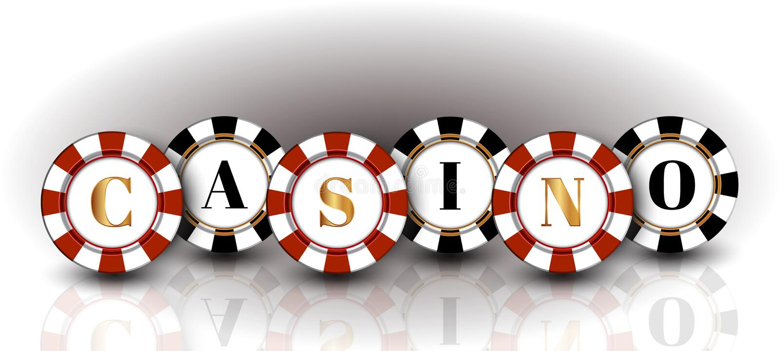 Red-black casino Chips on the white background with the reflection. Red-black casino Chips on the white background royalty free illustration