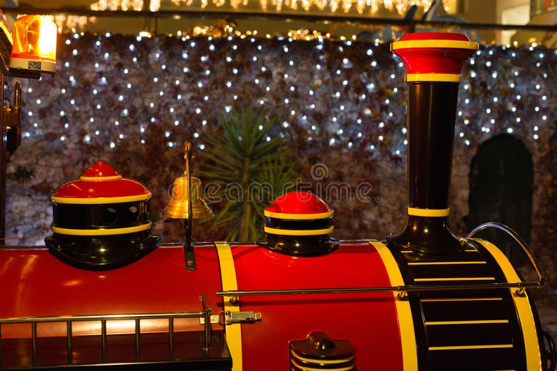 Red and black christmas train stock photos
