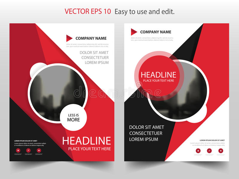 Red black circle Vector Brochure annual report Leaflet Flyer template design, book cover layout design, abstract presentation royalty free illustration