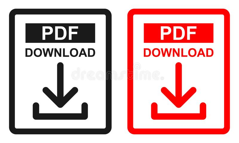 Red and black color Pdf file download icon vector illustration