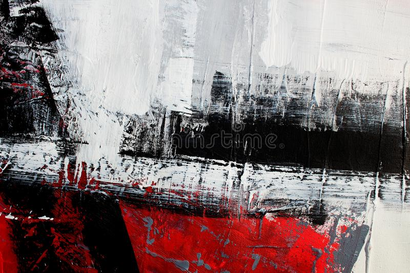 Red and black colors on canvas.Oil painting. Abstract art background. Oil painting on canvas. Color texture. Fragment of artwork. Hand drawn oil painting vector illustration