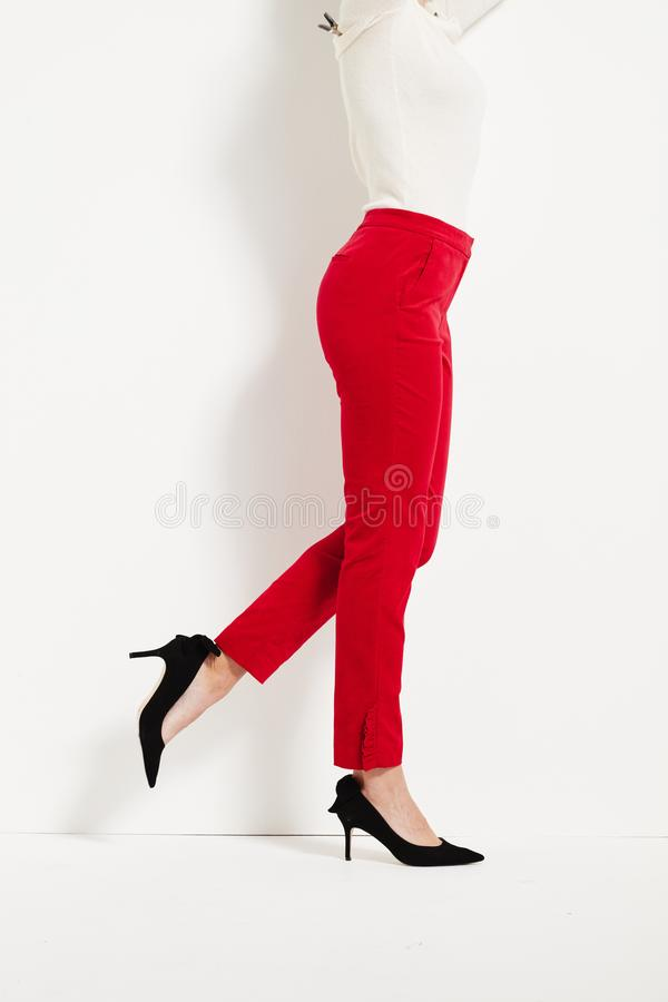 Red and black Cotton Maroon Plain Leggings , red and black Cotton Maroon Plain Leggings royalty free stock photo