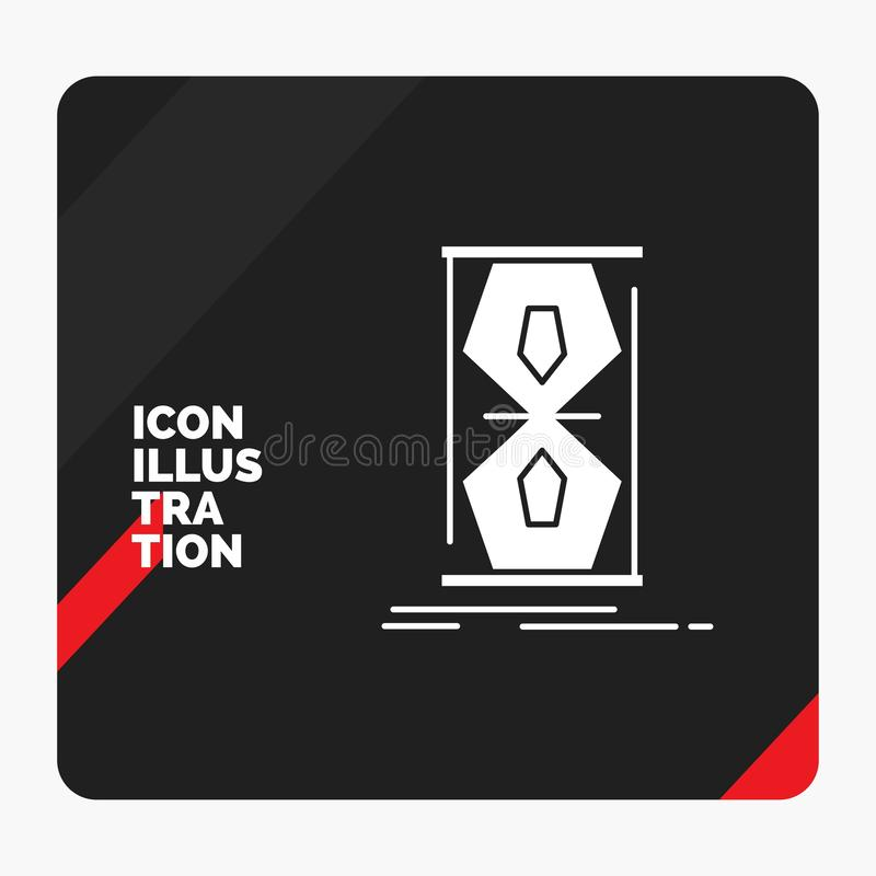 Red and Black Creative presentation Background for Access, clock, early, sand clock, time Glyph Icon royalty free illustration