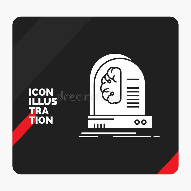Red and Black Creative presentation Background for Ai, brain, future, intelligence, machine Glyph Icon royalty free illustration