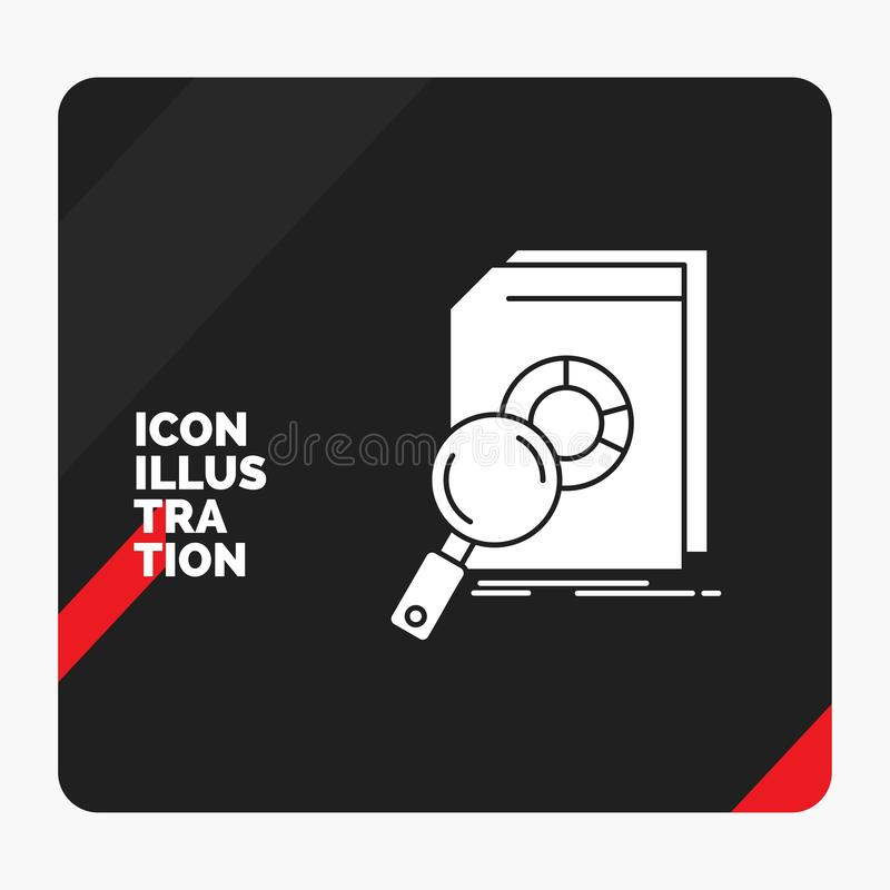 Red and Black Creative presentation Background for Analysis, data, financial, market, research Glyph Icon stock illustration