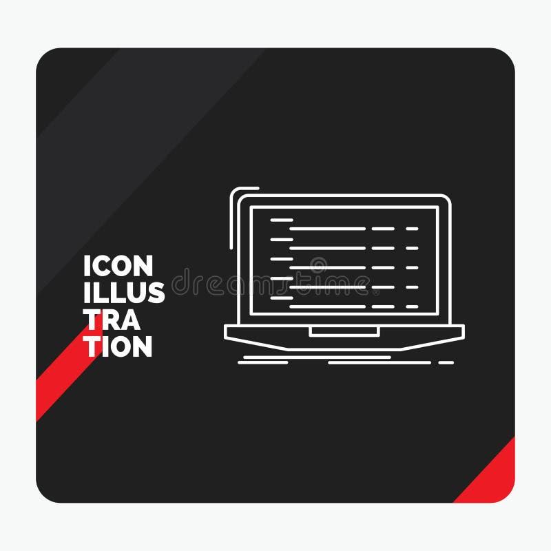 Red and Black Creative presentation Background for Api, app, coding, developer, laptop Line Icon vector illustration