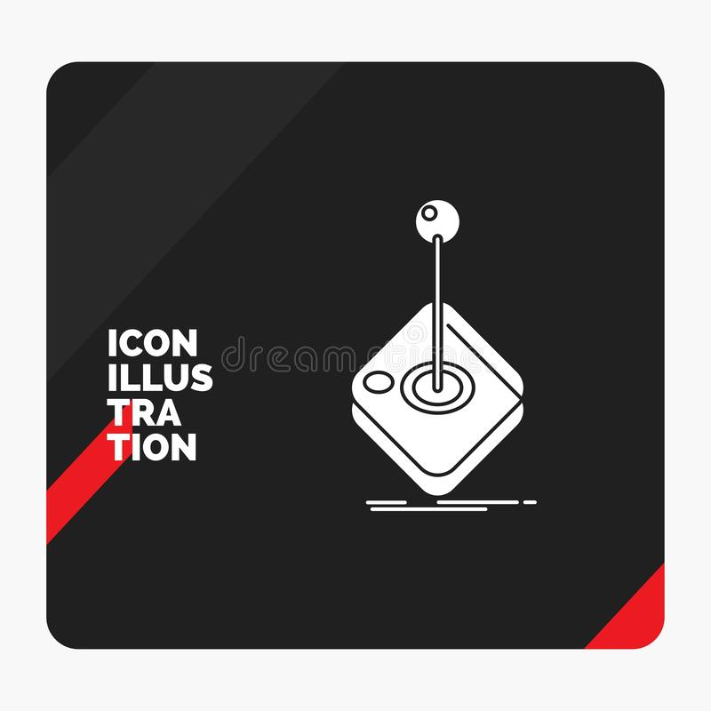 Red and Black Creative presentation Background for Arcade, game, gaming, joystick, stick Glyph Icon. Vector EPS10 Abstract Template background royalty free illustration