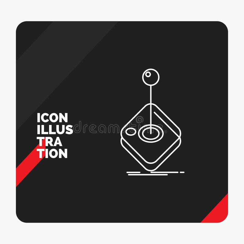 Red and Black Creative presentation Background for Arcade, game, gaming, joystick, stick Line Icon. Vector EPS10 Abstract Template background royalty free illustration
