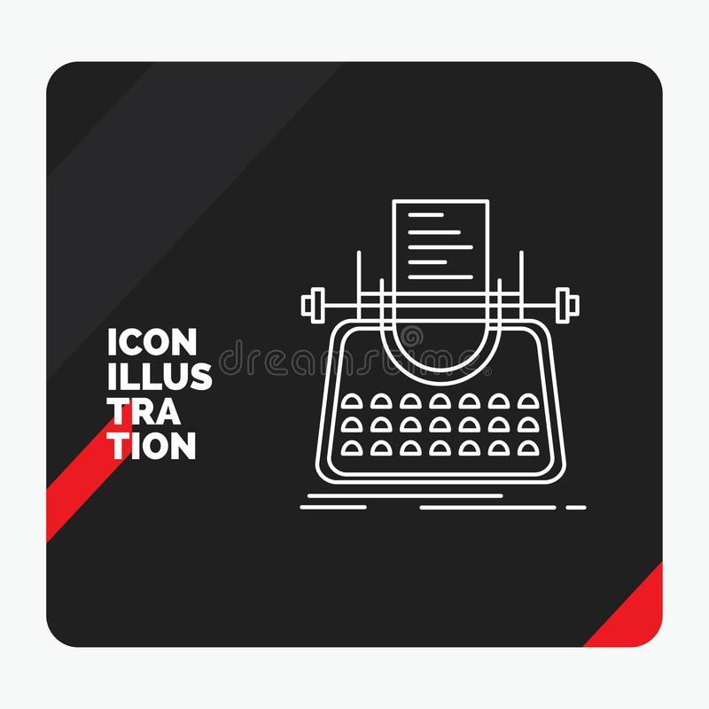 Red and Black Creative presentation Background for Article, blog, story, typewriter, writer Line Icon. Vector EPS10 Abstract Template background stock illustration