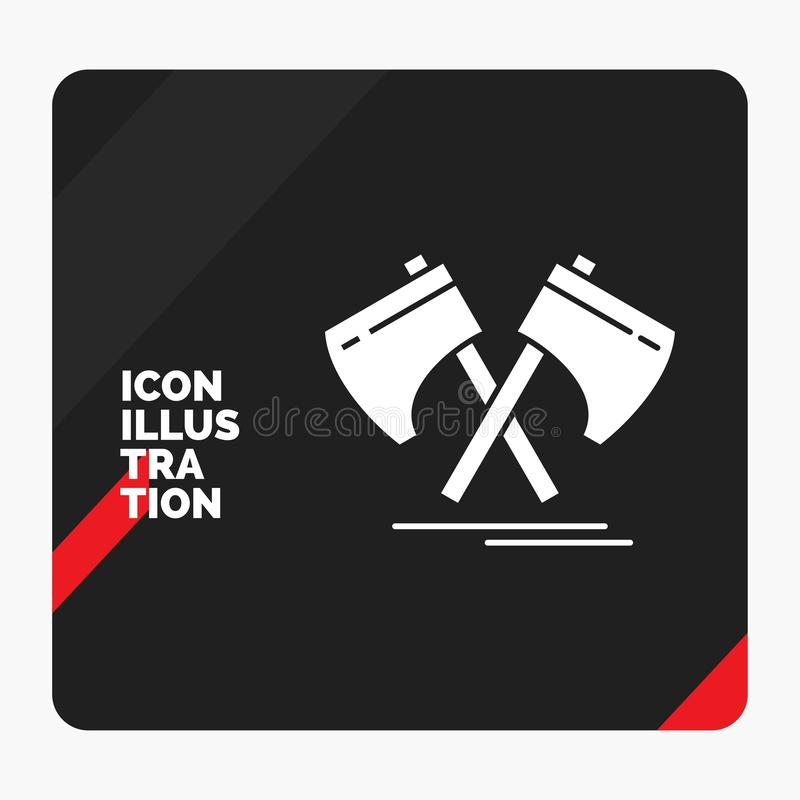 Red and Black Creative presentation Background for Axe, hatchet, tool, cutter, viking Glyph Icon. Vector EPS10 Abstract Template background vector illustration