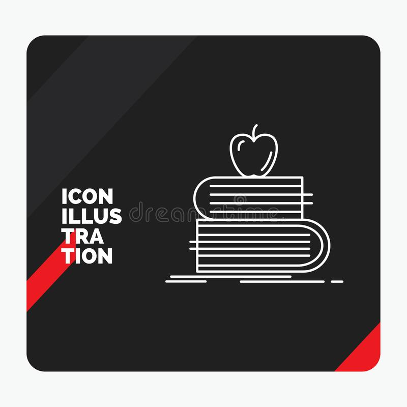 Red and Black Creative presentation Background for back to school, school, student, books, apple Line Icon stock illustration