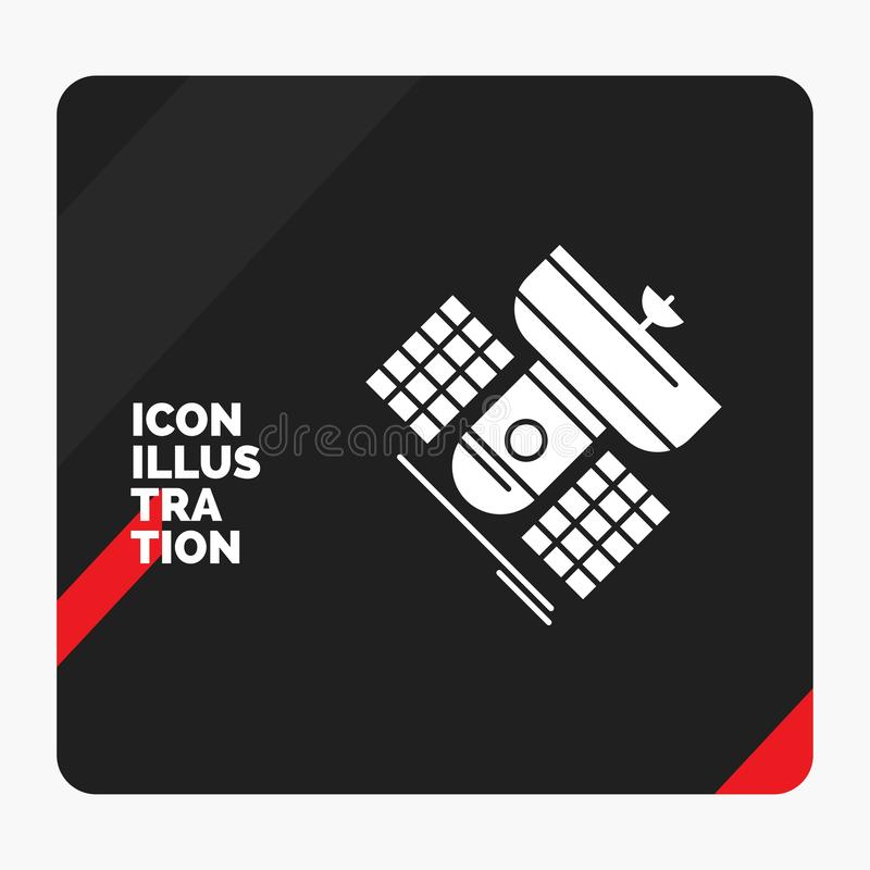 Red and Black Creative presentation Background for Broadcast, broadcasting, communication, satellite, telecommunication Glyph Icon. Vector EPS10 Abstract royalty free illustration
