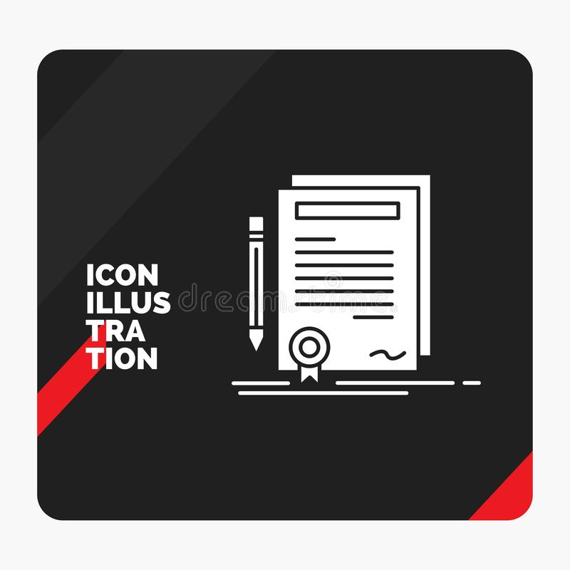 Red and Black Creative presentation Background for Business, certificate, contract, degree, document Glyph Icon vector illustration