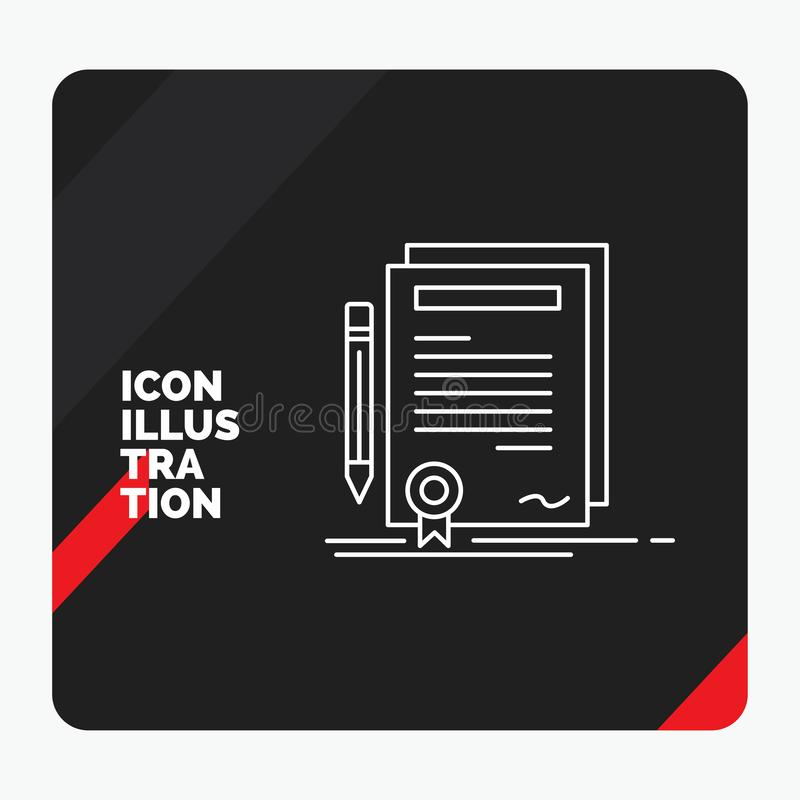 Red and Black Creative presentation Background for Business, certificate, contract, degree, document Line Icon. Vector EPS10 Abstract Template background royalty free illustration