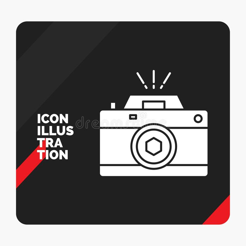 Red and Black Creative presentation Background for Camera, photography, capture, photo, aperture Glyph Icon stock illustration