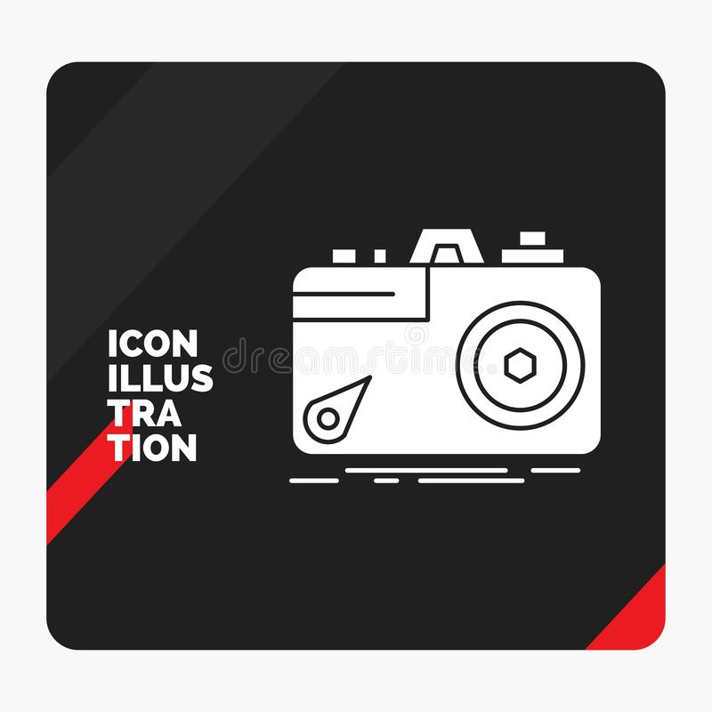 Red and Black Creative presentation Background for Camera, photography, capture, photo, aperture Glyph Icon royalty free illustration