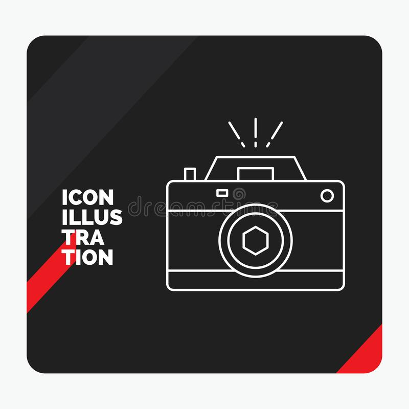 Red and Black Creative presentation Background for Camera, photography, capture, photo, aperture Line Icon stock illustration
