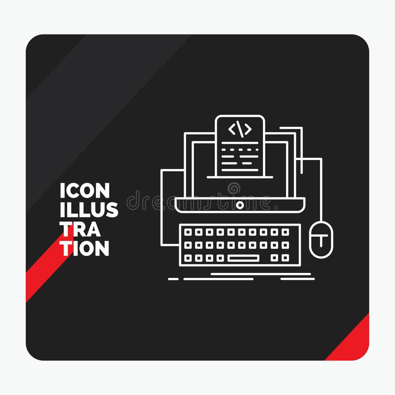 Red and Black Creative presentation Background for Code, coding, computer, monoblock, screen Line Icon. Vector EPS10 Abstract Template background vector illustration