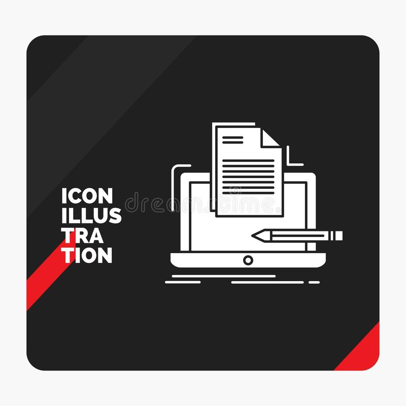 Red and Black Creative presentation Background for Coder, coding, computer, list, paper Glyph Icon vector illustration