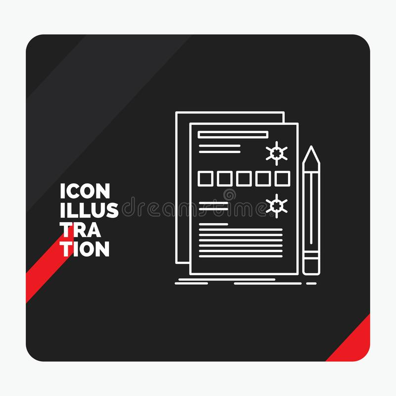 Red and Black Creative presentation Background for Component, data, design, hardware, system Line Icon vector illustration