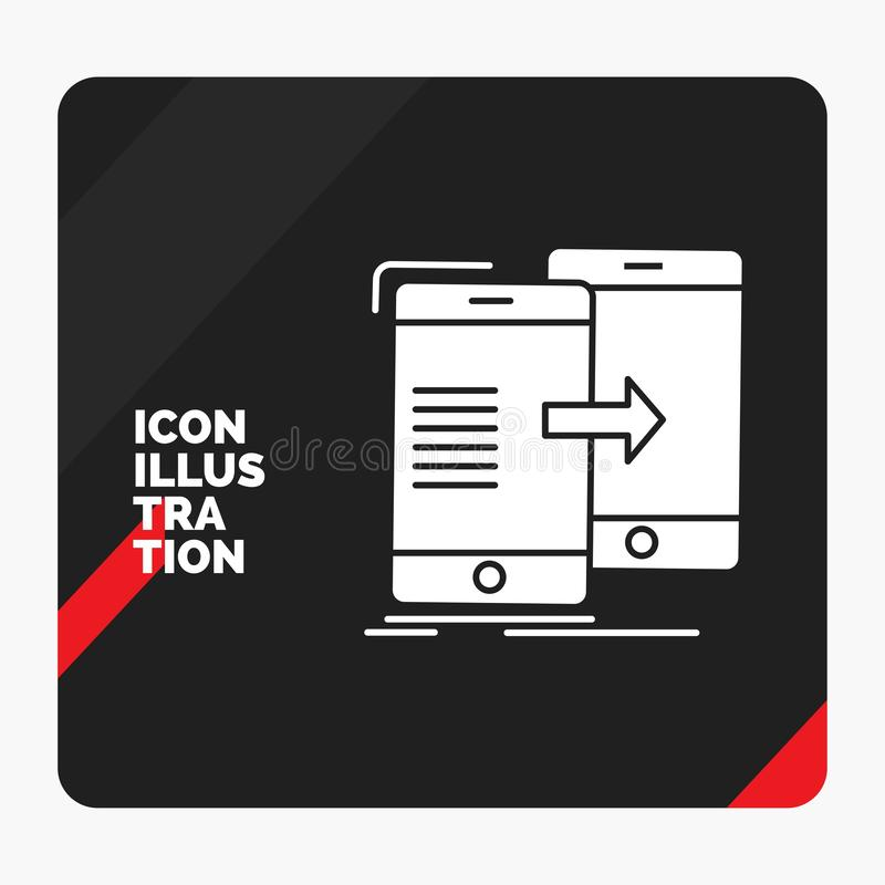 Red and Black Creative presentation Background for data, Sharing, sync, synchronization, syncing Glyph Icon. Vector EPS10 Abstract Template background royalty free illustration