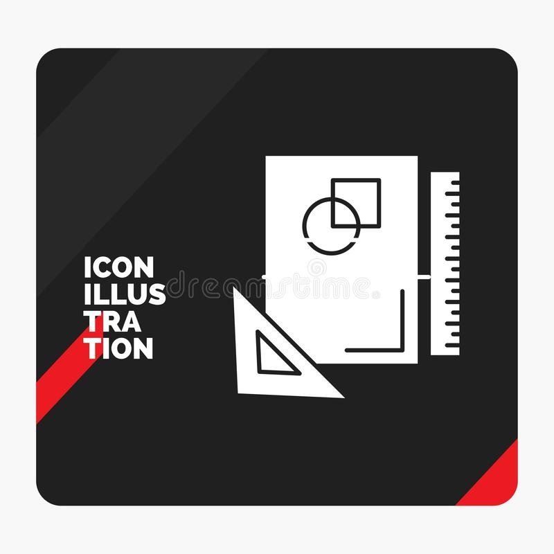 Red and Black Creative presentation Background for Design, layout, page, sketch, sketching Glyph Icon. Vector EPS10 Abstract Template background royalty free illustration