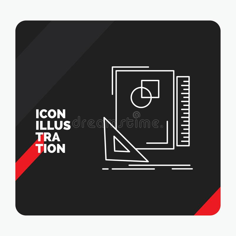 Red and Black Creative presentation Background for Design, layout, page, sketch, sketching Line Icon. Vector EPS10 Abstract Template background vector illustration
