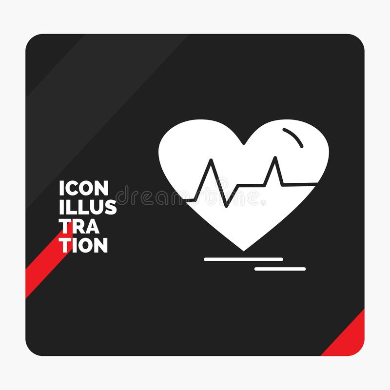 Red and Black Creative presentation Background for ecg, heart, heartbeat, pulse, beat Glyph Icon. Vector EPS10 Abstract Template background stock illustration