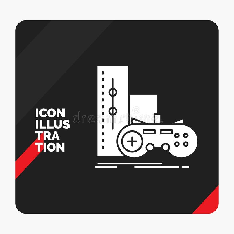 Red and Black Creative presentation Background for game, gamepad, joystick, play, playstation Glyph Icon. Vector EPS10 Abstract Template background royalty free illustration